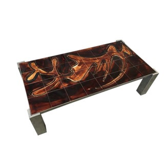 Mid-Century Tile Top Coffee Table With Chrome Frame For Sale