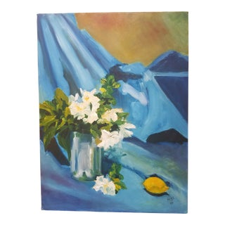 1990s Vintage Floral Still LifePainting by Mys For Sale