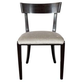 Mid-Century Modern Ebonized Walnut and Platinum Velvet Side Chair by Dunbar For Sale