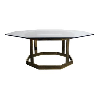 Brass Octagonal Coffee Table with a Glass Top in the Manner of Milo Baughman For Sale