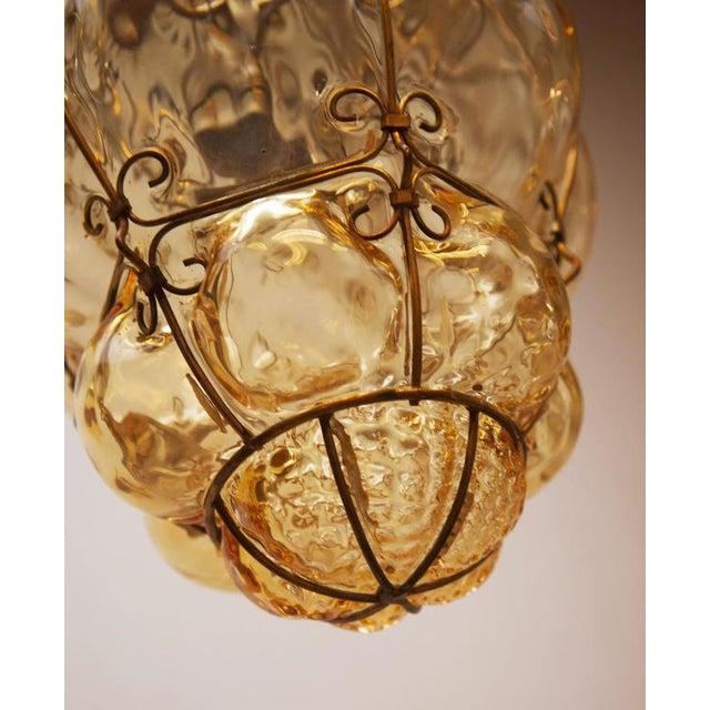 Seguso Steel Wire & Glass Pendant Lamp by Seguso Murano, 1960s For Sale - Image 4 of 10