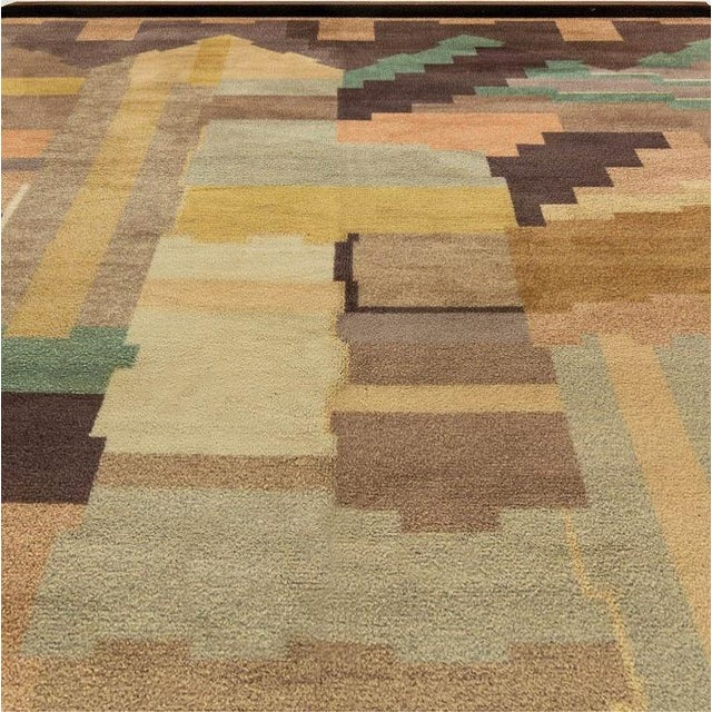 """Vintage French deco rug by Greta Skoaster woven at Kiikan Kutamo workshop Size: 8'0"""" × 11'8"""" (243 × 355 cm) There are many..."""