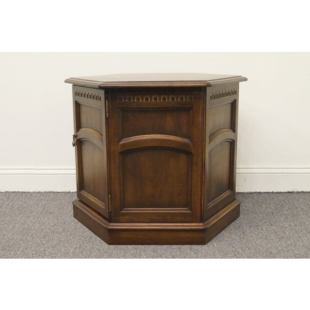 Kling Colonial solid cherry Cambridge Court hexagonal storage end table. We specialize in high end used furniture that we...