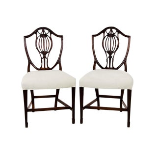 Antique Mahogany Sheraton Shield Back Accent Chairs - a Pair For Sale