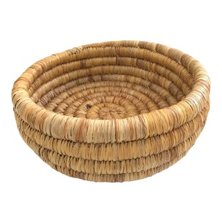 Handwoven Round Basket For Sale