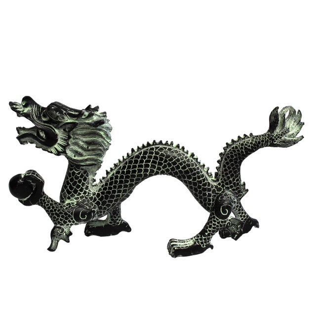 """Bronze Dragon With Fire Ball 11.5"""" Wide For Sale - Image 13 of 13"""