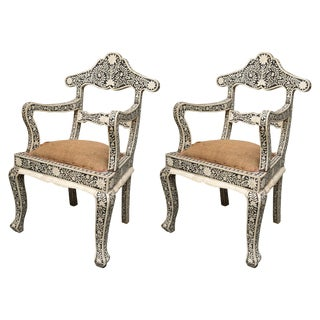 Inlaid Moroccan Ebony and Bone Armchairs - a Pair For Sale