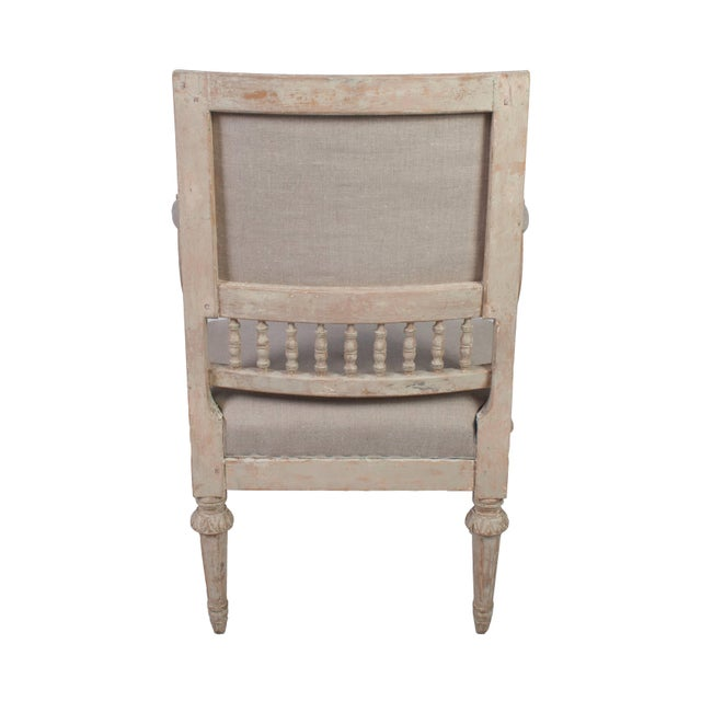 Pair of Gustavian Armchairs With Carved Wood Spindle Decoration For Sale - Image 4 of 5