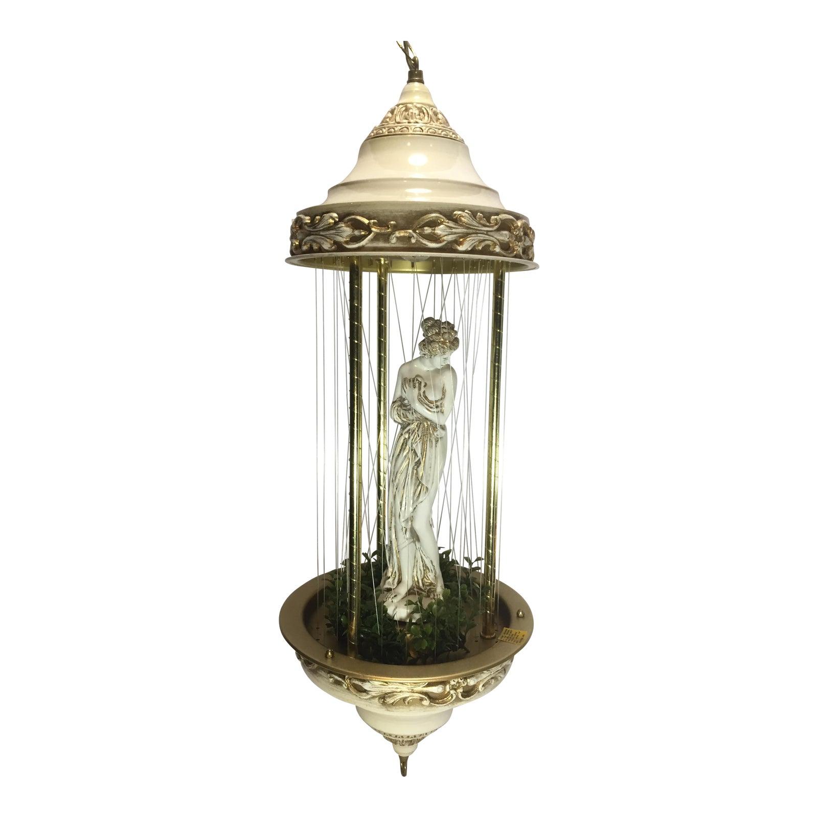 Vintage hanging oil rain swag lamp with goddess