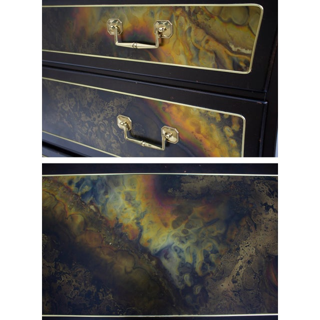 Gold Chest Dresser in Acid-Etched Brass by Bernhard Rohne for Mastercraft For Sale - Image 8 of 13