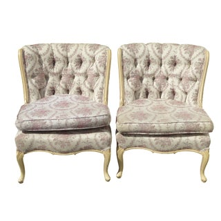 French Provincial Tufted Slipper Chairs - Pair