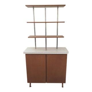 Vintage Wood Formica Top Bar Back Buffet Cabinet