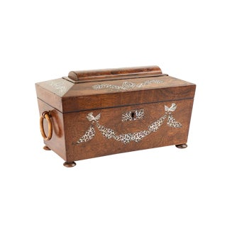 Circa 1830 Shell Inlaid Tea Caddy For Sale