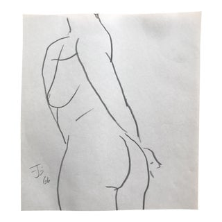 1966 James Bone Posing Female Nude Life Class Model Drawing For Sale