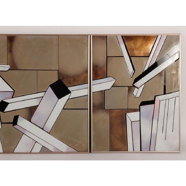 """Mid-Century Modern 1970s Vintage Tile Triptych """"Cityscape"""" by Shirley Rosenthal For Sale - Image 3 of 7"""