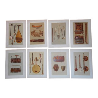 Antique 19th C. Ltd. Ed. Lithographs-Asian& Indian Musical Instruments - Set of 8 For Sale