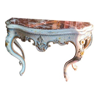 19th C. Venetian Painted White and Blue Console For Sale