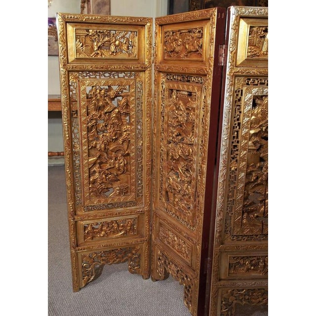 """Antique Chinese four-panel screen. Each panel 19.5"""" W."""