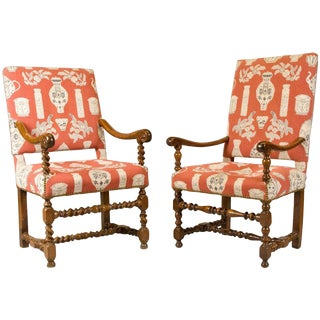 French Walnut Armchairs, Louis XIII Period, Fine Upholstery For Sale