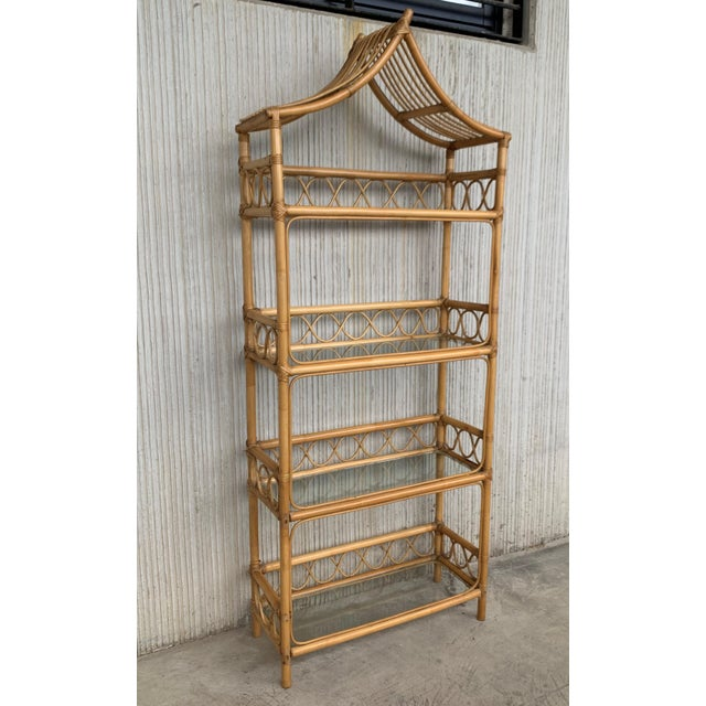 Bamboo 20th Midcentury Bamboo and Glass Étagère, Pagoda Style. Four Shelves For Sale - Image 7 of 7