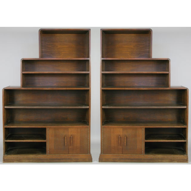 Pair of 1940s Walnut Skyscraper Bookcases For Sale - Image 9 of 9