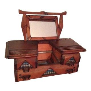Antique Handmade Wooden Mirrored Jewelry Box-Mini Dresser For Sale