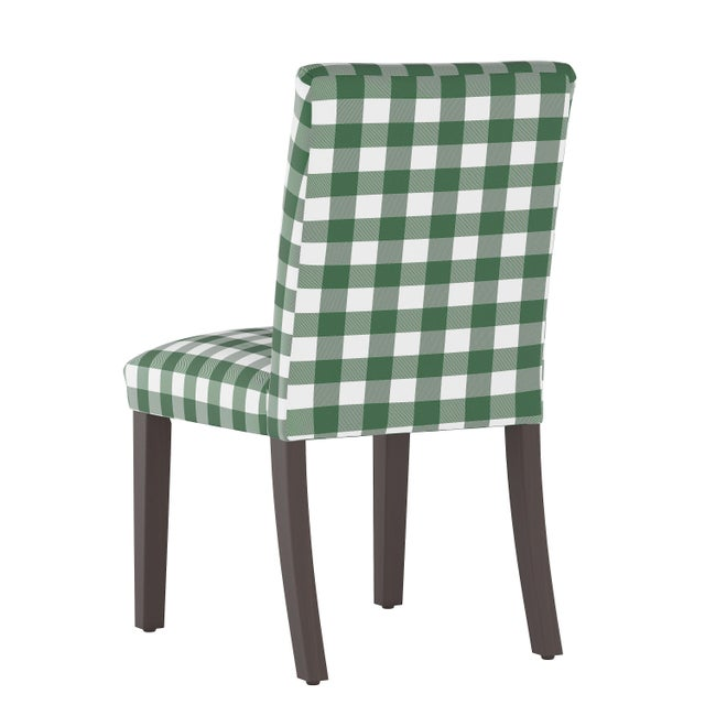 Contemporary Dining Chair in Classic Gingham Evergreen Oga For Sale - Image 3 of 7