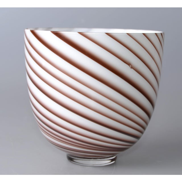Original Tommaso Barbi Italian Murano Bowl / Vase in a candy swirled design motif with white opalescent and burgundy...