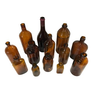 Vintage Assorted Amber Bottles, Set of 13 For Sale