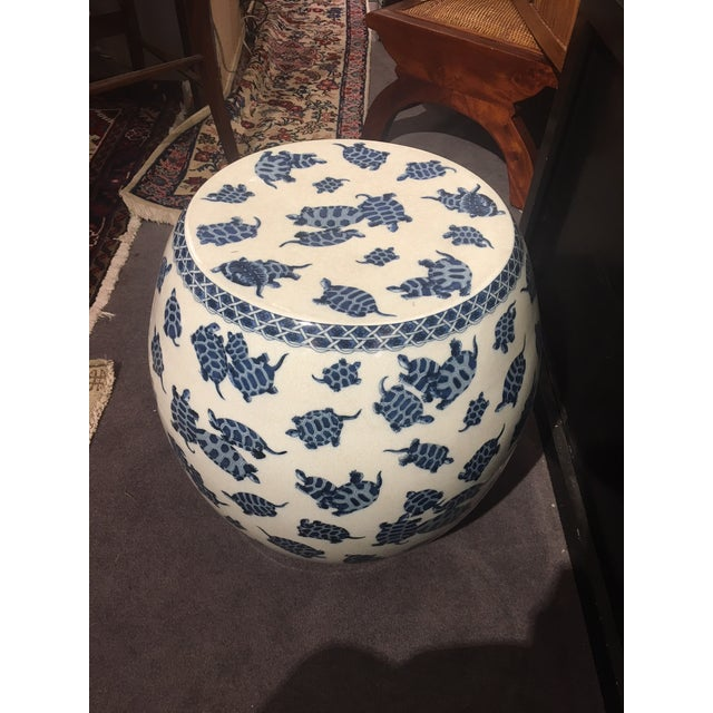 2000s Blue & White Crackle Finish Garden Stool For Sale - Image 5 of 5