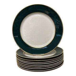 Dark Green & Gold Trim Dinner Plates Set of 10 For Sale