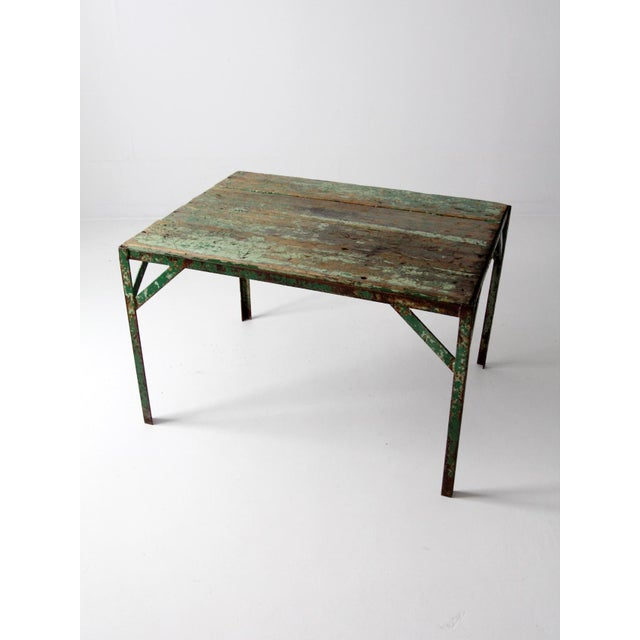 Early 20th Century Vintage Wood Top Work Table For Sale - Image 5 of 11