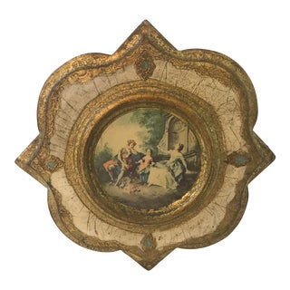 Vintage Italian Florentine Gilded Wood Wall Hanging For Sale