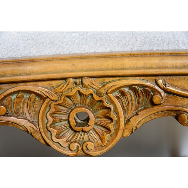 Antique French C.1870-1880 Louis XVI Style Hand Carved Wood Settee With Double Canning For Sale - Image 12 of 13