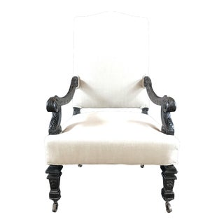 French Louis XV French Carved Armchair With New Upholstery For Sale
