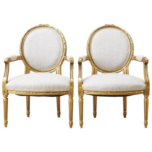 Pair of Louis XVI Style Giltwood Linen Fauteuil Armchairs For Sale - Image 13 of 13