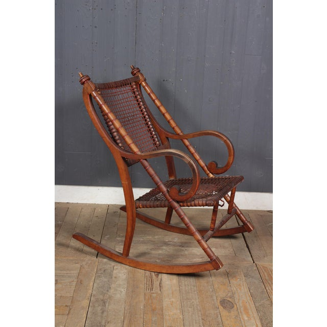 Hunzinger-Style Carved Wood and Woven Fabric Rocking Chair For Sale In Washington DC - Image 6 of 6