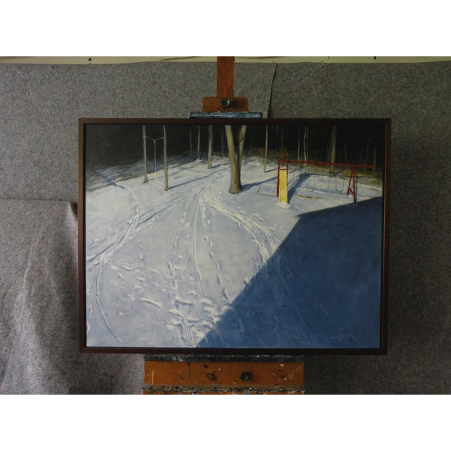 """Titled """"Winter Afternoon in the Backyard"""". After a long day of play, the kids came inside to warm up, leaving their mark..."""