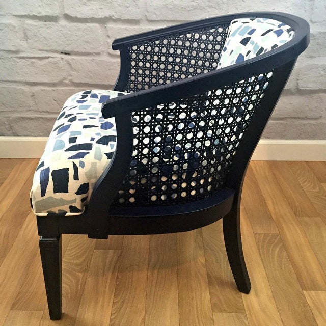 Navy Barrel Chair - Image 4 of 5