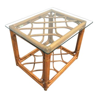 Mid-Century Modern Brown Jordan Rattan Side Table For Sale