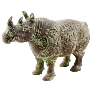 Lawrence & Scott Verdigris Bronze Rhinoceros Figurine For Sale