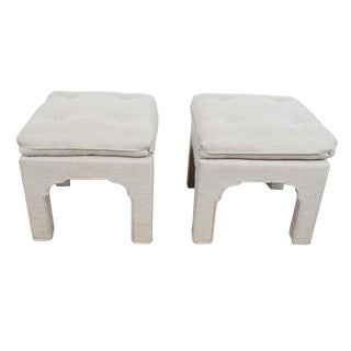 Pair Moroccan Style Ottomans /Footstools Pair Hollywood Regency Style Khaki Gray Upholstered Ottomans For Sale