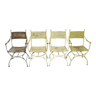 Vintage Wrought Iron Curule X-Frame Garden Patio Dining Arm Chairs- Set of 4 For Sale