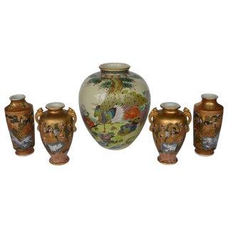 Japanese Satsuma Vases - Set of 5 For Sale