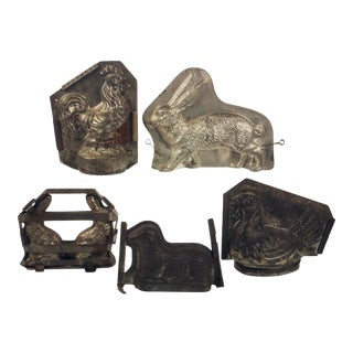 Figural Antique Metal Ice Cream Molds - Set of 5 For Sale