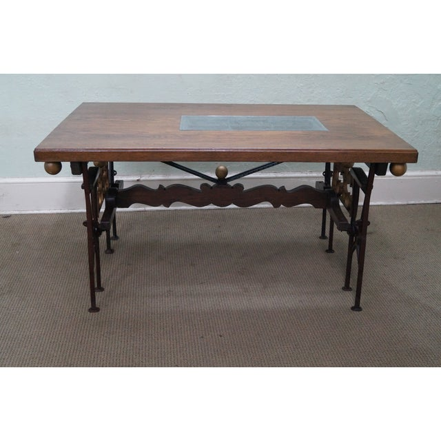 Hand Crafted Iron Base Gothic Writing Desk For Sale - Image 4 of 10