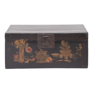 "19th Century Chinese ""Autumn Offerings"" Painted Trunk For Sale"