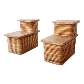 Bamboo End Tables Attributed to Paul Frankl, Pair For Sale