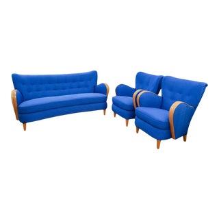 1930s Vintage Swedish Art Deco Lounge Group- Set of 3 For Sale