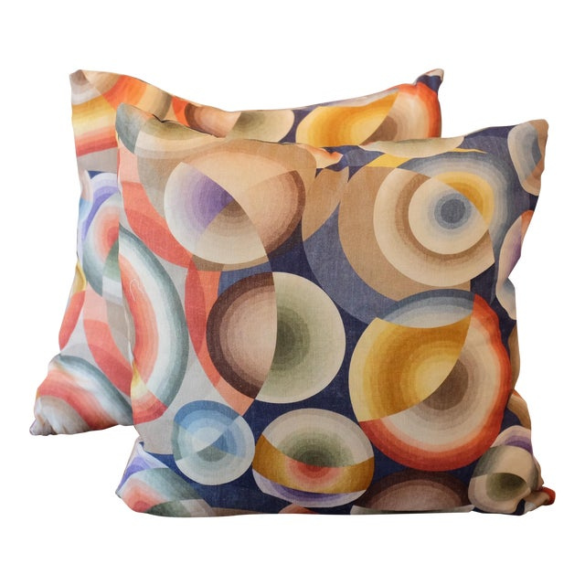 Pierre Frey Sonia Delaunay Print Linen Pillow Covers - a Pair For Sale